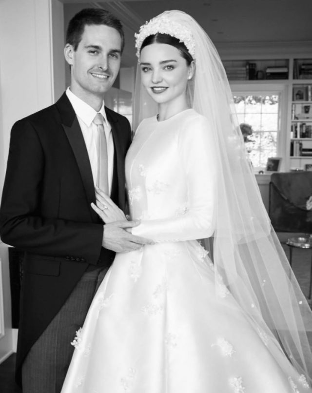 Miranda Kerr marries Snapchat founder in custom couture Dior wedding dress