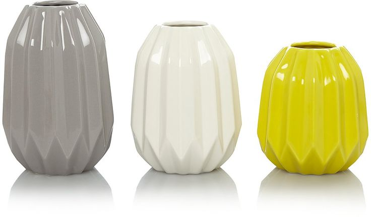 Great for adding a modern pop of colour to your space. In glossy stoneware, the origami-like shape and vibrant colours of these vases from George Home looks ...