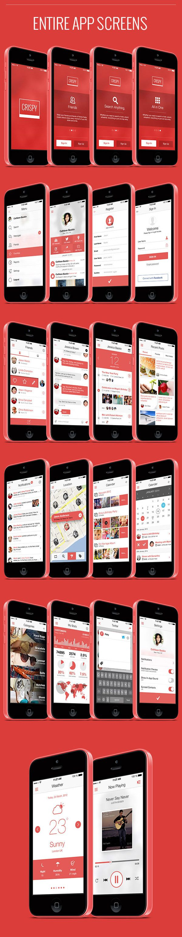 Crispy - A Fresh & Flat Mobile Ui Design by Bouncy Studio, via Behance