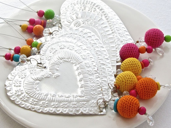 Mexican Tin Art Decorative Heart Metal Embossing  by FoilingStar, $34.00