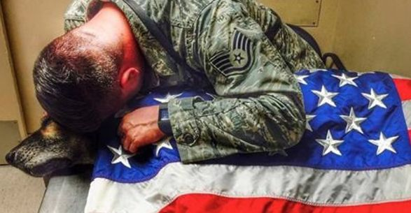 Heartbreaking Photo Shows Soldier's Final Goodbye to His Dying Dog