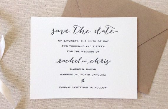 The Magnolia Suite Letterpress Wedding Save the Dates with dark grey ink and paper bag envelopes