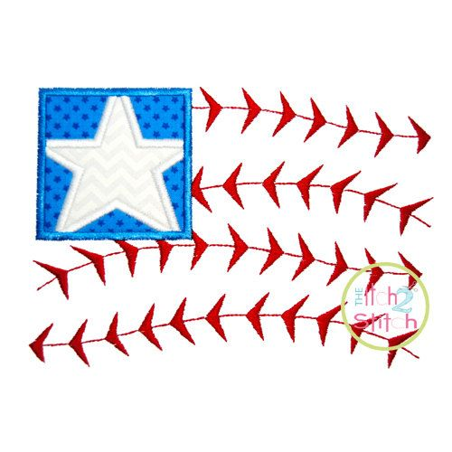 Baseball FLag Applique Design For Machine by TheItch2Stitch, $4.00
