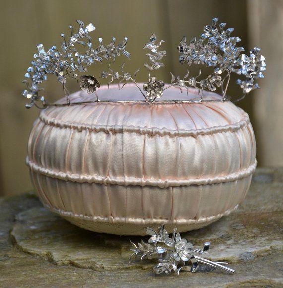 Antique Bridal Tiara Silver Wedding Crown by LushVintageClothing