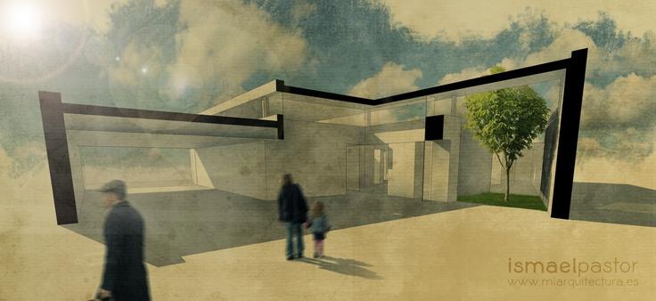Competition. Library in Valencia, Spain.  Architect: Ismael Pastor. miarquitectura