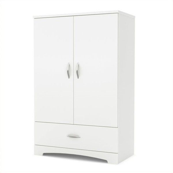 South Shore Step One Armoire ($217) ❤ liked on Polyvore featuring home, furniture, storage & shelves, armoires, white, contemporary storage furniture, white furniture, drawer furniture, contemporary furniture and storage wardrobe