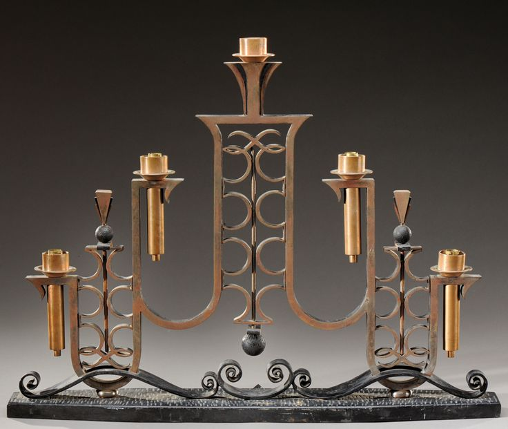 raymond subes style of wrought iron console table lamp with geometric shapes c