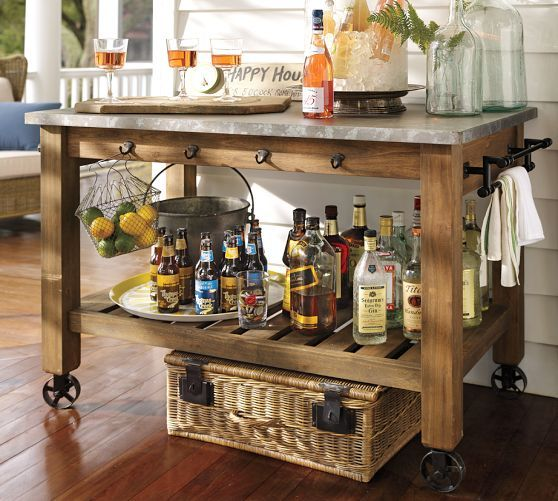Abbott Zinc Top Island Hutch Pottery Barn Kitchen Island Concept Cabinetry All Over The