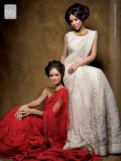 Red Saree White Saree by Bibi London