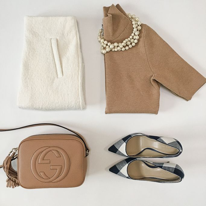 Camel mockneck sweater, Gucci soho disco bag, gingham pumps, white boucle wool skirt, petite outfits, work outfit - click the photo for outfit details!