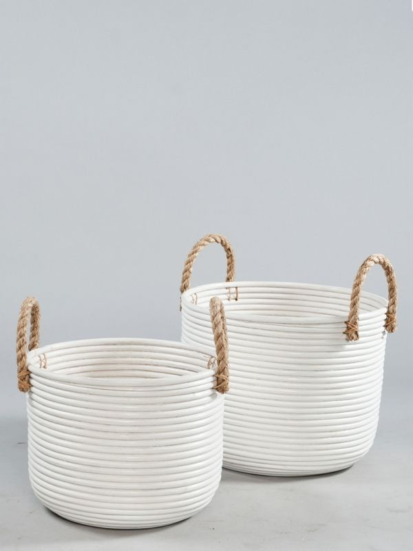 nagarey | Products - Keranjang & Boks - Granada White Basket with Jute Handle Small - White