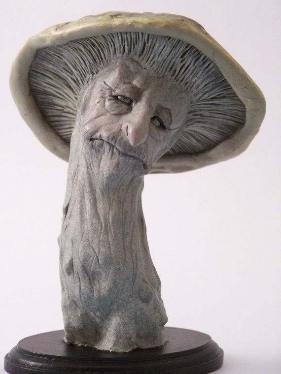 OOAK Art Doll Mushroom Faerie Creature in polymer clay and paper clay