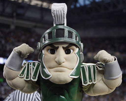 I'm a 2010 graduate of Michigan State. I bleed green. I'm also slightly obsessed with Sparty. I'd marry him and have his beautiful foam offspring.