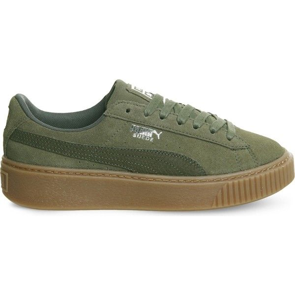 Puma Suede platform trainers ($87) ❤ liked on Polyvore featuring shoes, sneakers, puma trainers, lace up shoes, laced up shoes, puma footwear and suede platform shoes