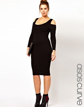 ASOS CURVE Bodycon Dress With Cold Shoulder