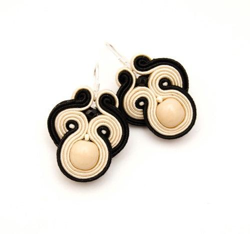 Black beige bohemian earrings with soutache by MANUfakturamaanuela, $33.00