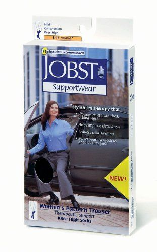 Women's 8-15 mmHg Knee High Pattern Trouser Sock Size: Medium, Color: Black by Jobst. Save 51 Off!. $9.78. 115246 Size: Medium, Color: Black Pictured in Black Features: -Sock.-Material: 96pct Nylon, 4pct spandex - latex free.-Fabric: Patterned, women's trouser.-Toe type: Closed toe.-Ideal for work and social occasions.-Looks like fashion socks with a textured diamond pattern.-Well-defined heel and toe provide optimal styling and a perfect fit.-Condition: Mild swelling, tired, a...