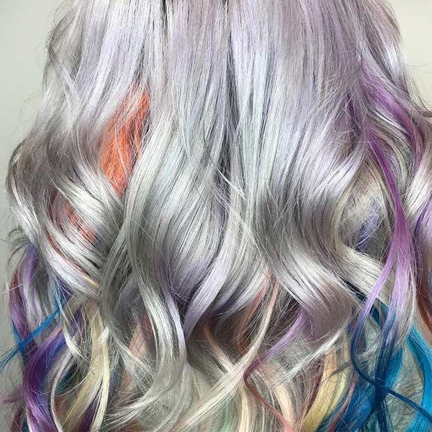 Rainbow Highlights On Silver Hair Silver Hair Color Silver Blonde Hair Colored Hair Tips