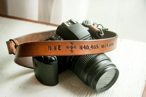 Camera Strap!  Silver Hardware Honey Stain A heart, Compass, Coordinates of our house?