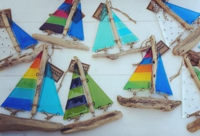 Fused glass and driftwood lightcatcher boat - Red doll