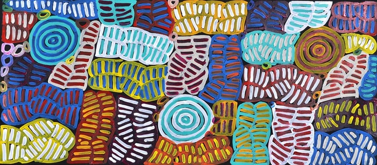 Aboriginal art by Betty Club Mpetyane 40x90cm