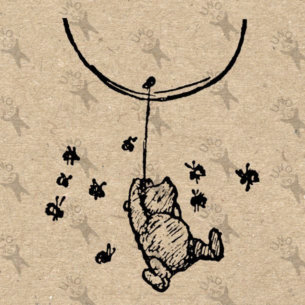 Vintage Winnie the Pooh Balloon Bees drawing Instant Download Digital printable clipart  graphic burlap paper transfer scrapbooking HQ300dpi by UnoPrint on Etsy
