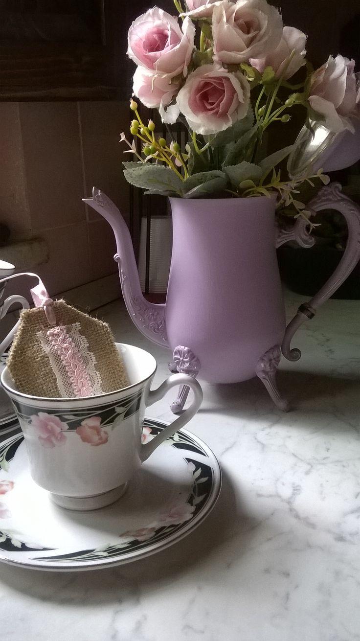 Teiera in ottone, ricolorata in Rosa Vintage #Shabby #chic #teiera #teatime
