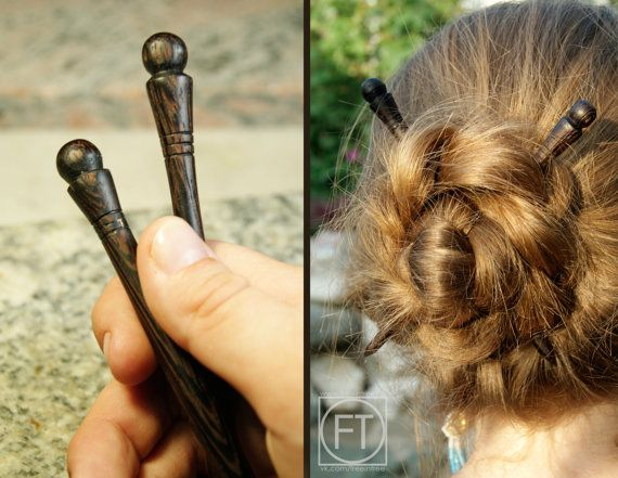 Wood Hair Stick Hairstick carved from Wenge wood by FreeInTree
