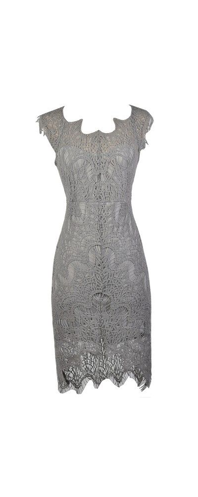 Lily Boutique The High Low Life Lace Sheath Dress in Grey, $34 www.lilyboutique.com