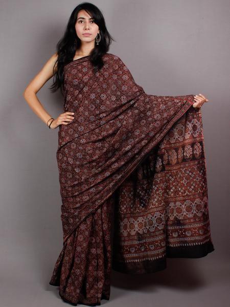 Black Maroon Mughal Nakashi Ajrakh Hand Block Printed in Natural Vegetable Colors Cotton Mul Saree - S03170433