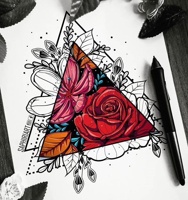 Colored Version Of My Latest Drawing Mixed Media Colored Digitally Please Do No Geometric Flower Tattoo Geometric Tattoo Design Geometric Tattoo Color