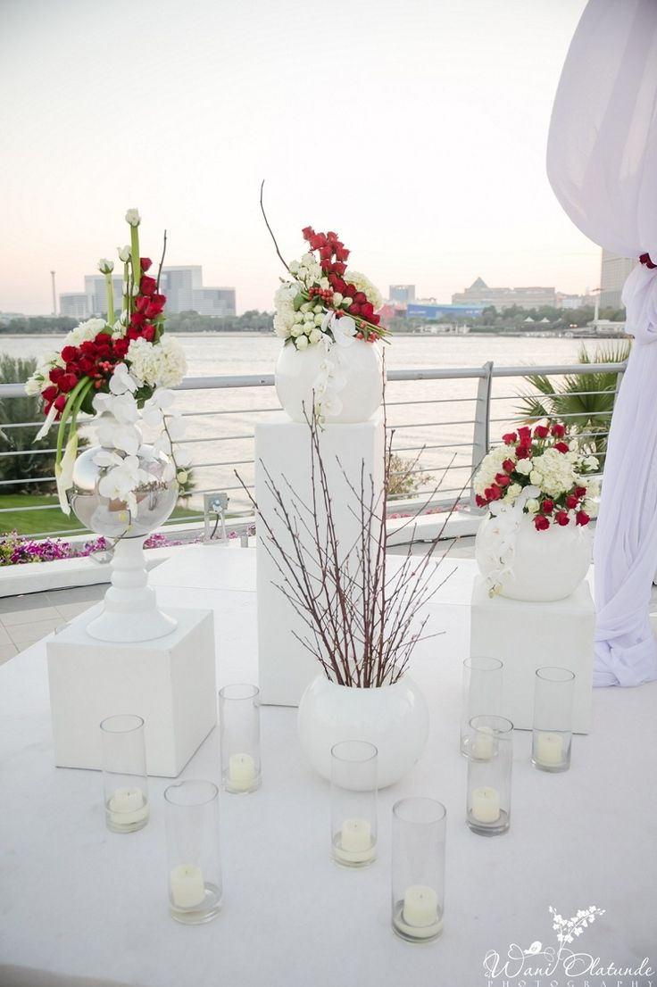 Red and white wedding ceremony Decor