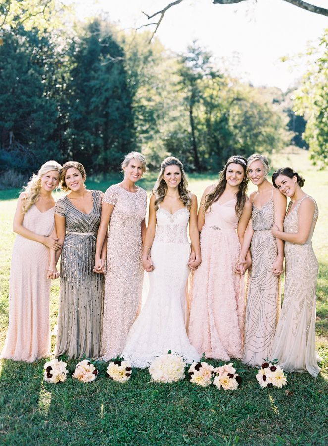 Gorgeous beaded bridesmaid dresses: http://www.stylemepretty.com/north-carolina-weddings/raleigh/2016/05/05/she-said-yes-to-the-dress-i-do-to-a-glamorous-fall-wedding/ | Photography: Graham Terhune - http://grahamterhune.com/