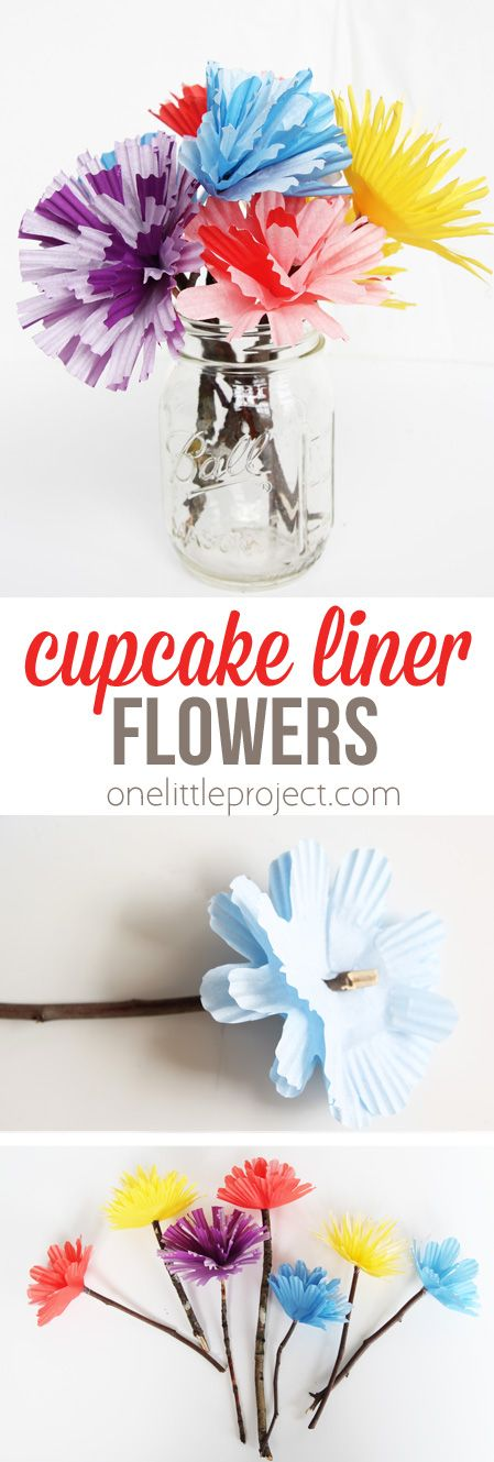 These cupcake liner flowers are SO easy and require only a few materials. Make them for Mother's Day or a teacher gift!