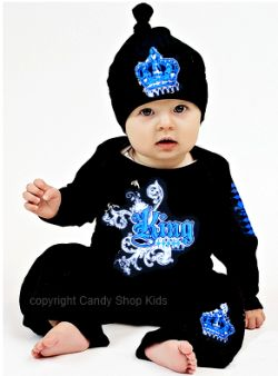 Baby Boy's King Shirt and Pant Outfit!! Love the black & blue together ❤❤