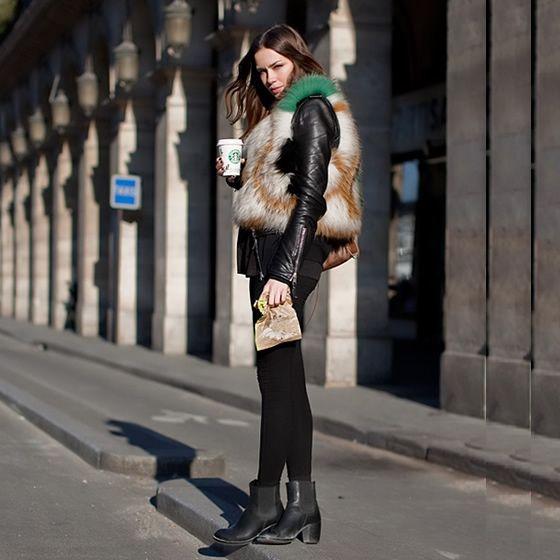 Couro & Pele #couro #leather #fur #fakefur #colete #jaqueta #vest #legging #shoes #streetstyle #fashion #moda #style #look #looks
