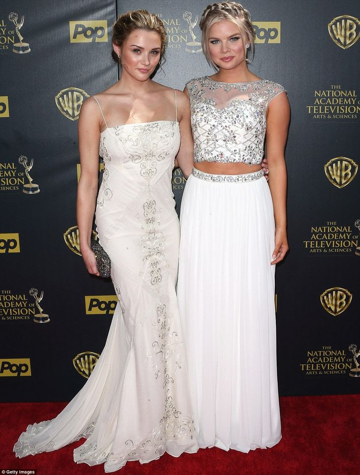 Dynamic duo: Young And The Restless stars Hunter King (left) and Kelli Goss (right) both donned white ensembles with silver detailing