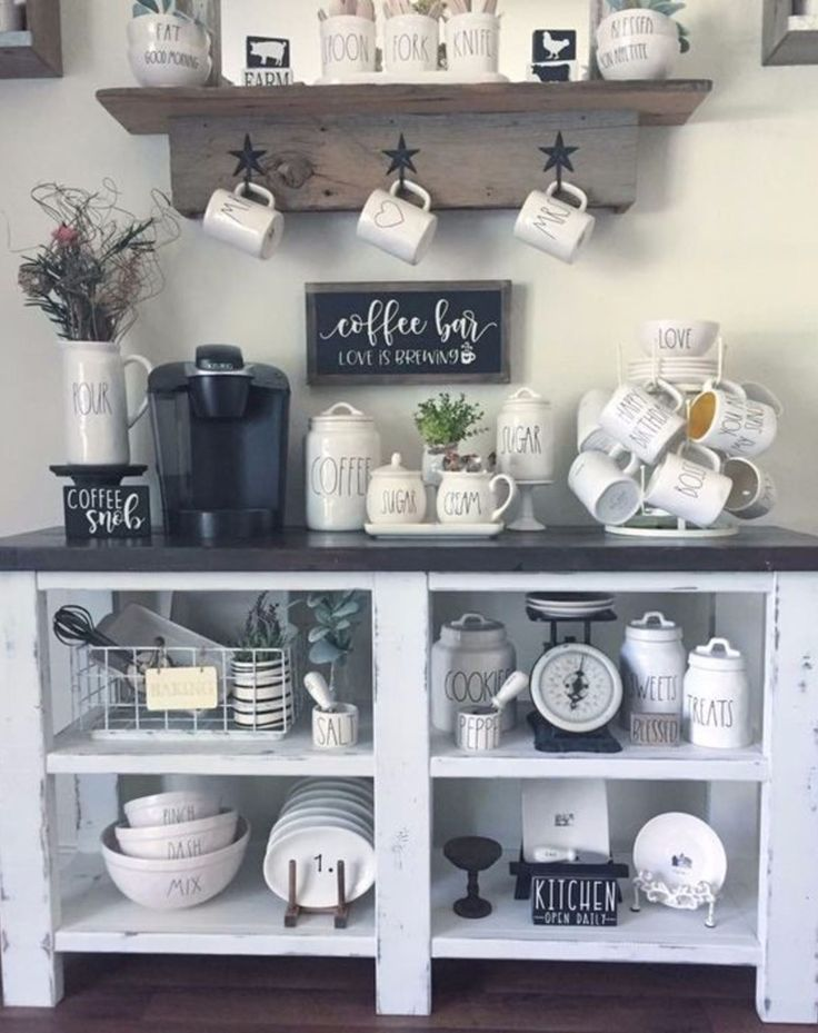 Coffee Bar And Coffee Station Ideas With Rae Dunn Canisters And Mugs