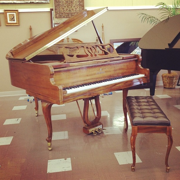 This just in! 1980s KIMBALL Piano made of French cherry wood. Crafted in Indiana, USA. (price to come)