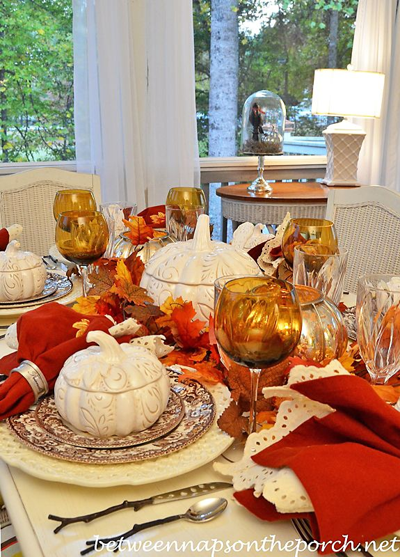 Autumn Fall Table Setting with Spode Woodland, Pumpkin Tureens, Twig Flatware and Mercury Glass Pumpkin Lanterns