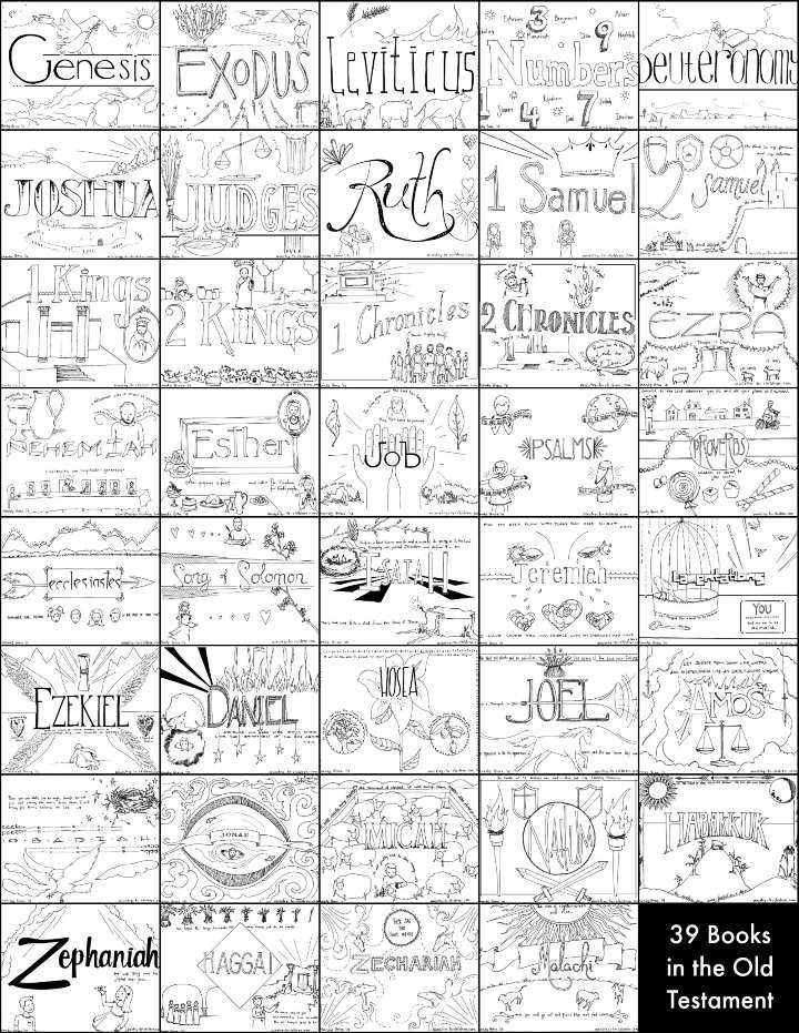 """39 Books of the Old Testament"" Bible Coloring Pages"