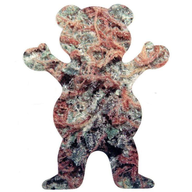 Grizzly Griptape Mary Jane Teddy Bear Sticker - Green