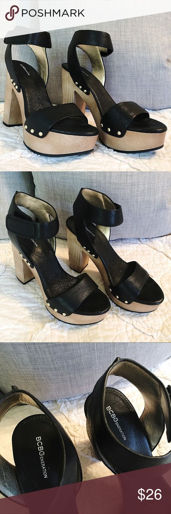 BCBGeneration Black Heels BCBGeneration black heels! Imitation wood adds nice texture to overall look. In excellent condition. Size 9M. Five inch heels. Velcro ankle straps. The perfect staple pair for your closet! BCBGeneration Shoes Heels