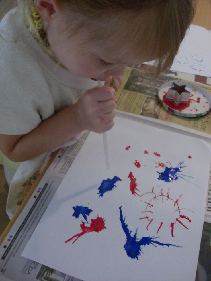 4th of July activity. Blow paint blobs to create a fireworks looking picture.