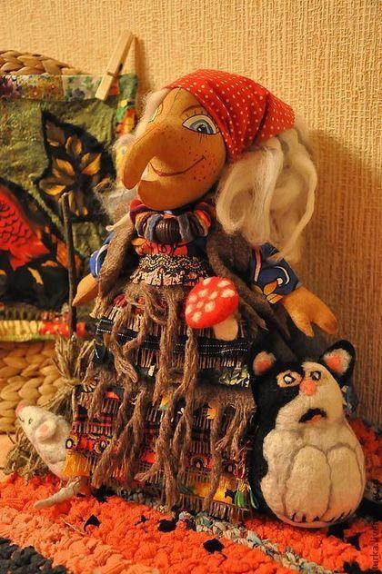 """Сказочные персонажи ручной работы. Кукла """"Баба-Яга"""". Юлия Туркина. Ярмарка Мастеров. Авторская работа, подарок девушке, мешковина"""