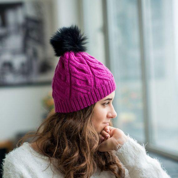 Pink Merino Beanie Women Hand Knitted Hat Pink by TikvaBeauties