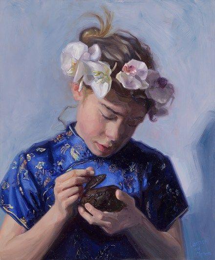 """my little dutch china girl"" 50 x 60 cm. Oil  on board. Portrait painting by Carolien van Olphen."