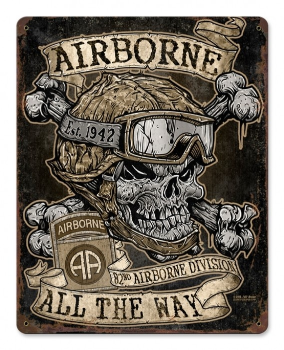 Vintage and Retro Wall Decor - JackandFriends.com - Vintage Airborne All The Way Metal Sign, $39.97 (http://www.jackandfriends.com/vintage-airborne-all-the-way-metal-sign/)