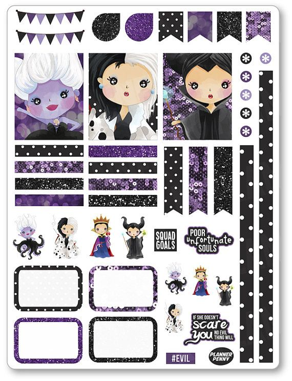 Evil Women Decorating Kit / Weekly Spread Planner by PlannerPenny                                                                                                                                                                                 Mais