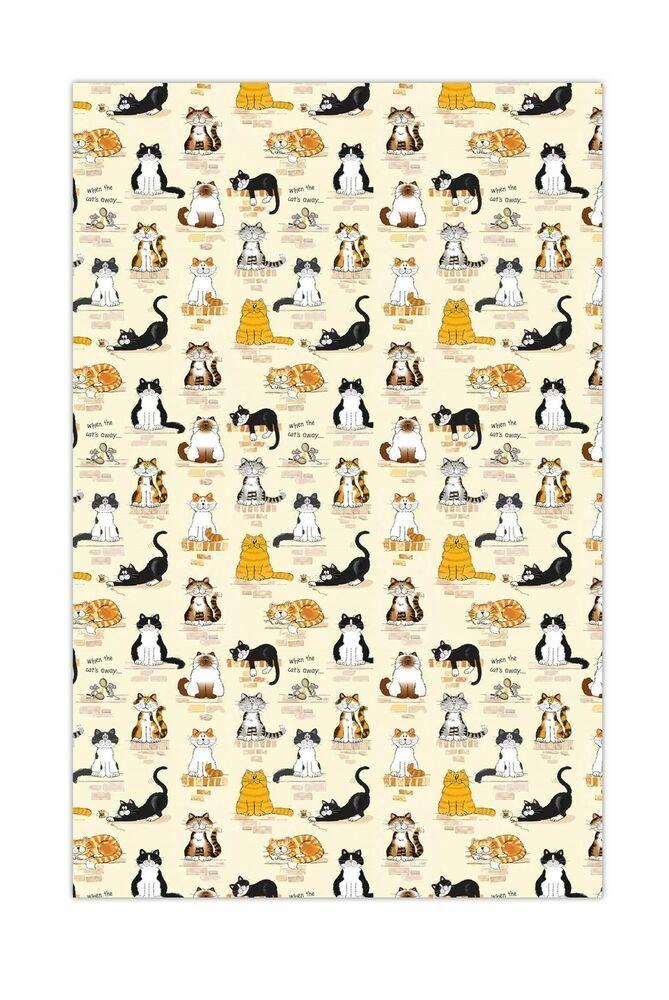 """/""""When the Cat/'s Away/"""" Linen Blend McCaw Allan Cat Tea Towel"""